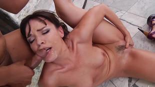 Dana Dearmond branle et pompe un pénis bien raide